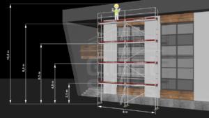 RAM2 Fire høyder (10m - 10,6m) - Stillaspakke 65 kvm