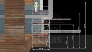 RAM1 Tre høyder (8m - 8,6m) - Stillaspakke 29 kvm