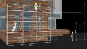 RAM1 Tre høyder (8m - 8,6m) - Stillaspakke 78 kvm