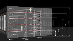 RAM1 Fire høyder (10m - 10,6m) - Stillaspakke 129 kvm