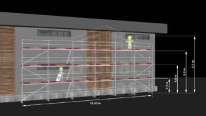 RAM1 Tre høyder (8m - 8,6m) - Stillaspakke 157 kvm