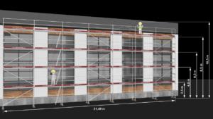 RAM1 Fire høyder (10m - 10,6m) - Stillaspakke 226kvm